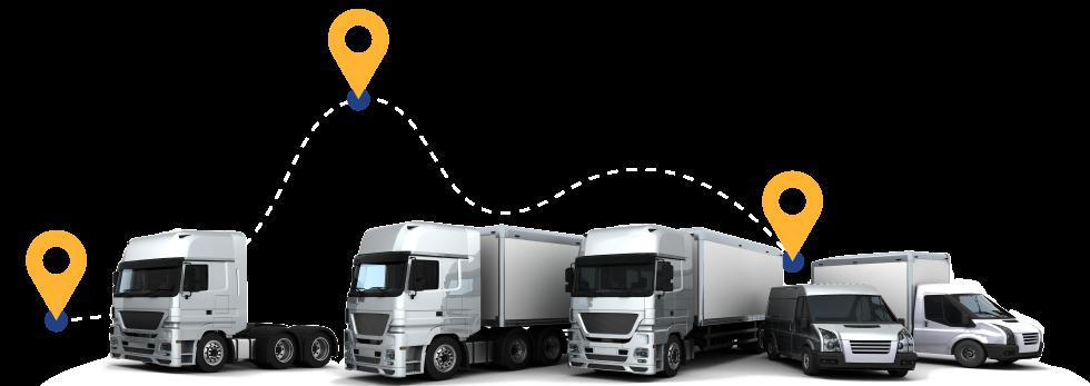 flota de camiones de logística y distribución de la empresa logistica EDB
